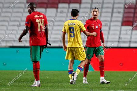 Portugal's Cristiano Ronaldo, right, and Andorra's Aaron Sanchez gesture following the international friendly soccer match between Portugal and Andorra at the Luz stadium in Lisbon, Portugal