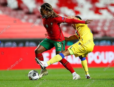 Portugal's Renato Sanches, left, and Andorras' Aaron Sanchez battle for the ball during the international friendly soccer match between Portugal and Andorra at the Luz stadium in Lisbon, Portugal