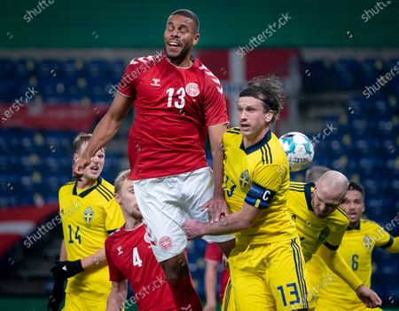 Denmark's Mathias Zanka Joergensen (L) and Sweden's Gustav Svensson in action during the friendly international soccer match between Denmark and Sweden at Brondby Stadium,