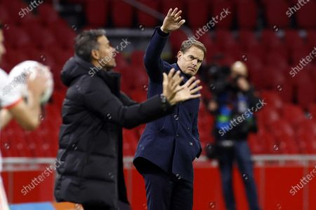 Spain coach Luis Enrique and Holland coach Frank de Boer during the friendly match between the Netherlands and Spain at the Johan Cruyff Arena in Amsterdam, The Netherlands, 11 November 2020.