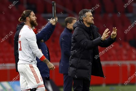Sergio Ramos of Spain, Spain coach Luis Enrique (l-r) during the friendly match between the Netherlands and Spain at the Johan Cruyff Arena in Amsterdam, The Netherlands, 11 November 2020.