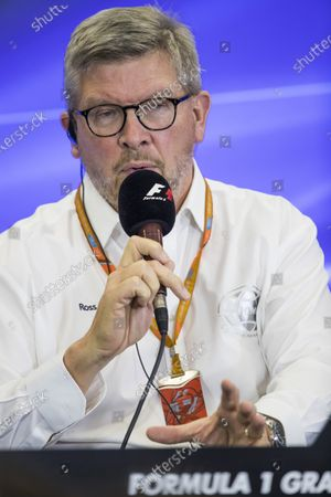Autodromo Hermanos Rodriguez, Mexico City, Mexico. Thursday 26 October 2017. Ross Brawn, Managing Director of Motorsports, FOM, attends a press conference with representatives of DHL. World Copyright: Sam Bloxham/LAT Images