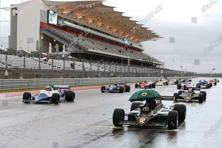 Circuit of the Americas, Austin, Texas, United States of America. Sunday 22 October 2017. Greg Thornton (GB) on pole in the 1982 Lotus 91/5, followed by Mike Cantillon (IRE) in the 1980 Tyrell 010, Katsuaki Kubota (JAP) in the 1978 Lotus 78 and James Hagan (IE) in the 1982 Tyrell 011. World Copyright: Charles Coates/LAT Images