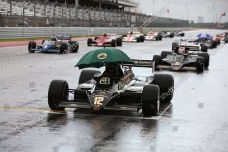 Stock Image of Circuit of the Americas, Austin, Texas, United States of America. Sunday 22 October 2017. Greg Thornton (GB) on pole in the 1982 Lotus 91/5, followed by Katsuaki Kubota (JAP) in the 1978 Lotus 78 and James Hagan (IE) in the 1982 Tyrell 011. World Copyright: Charles Coates/LAT Images