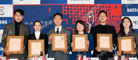 Jung Woo-sung, Cho Yeo-jeong, Cho Woo-jin, Lee Jung-eun, Park Hae-soo and Kim Hye-jun pose for a photo during a handprint event before The 41th Blue Dragon (Cheongryong) Awards; at the CGV Yeouido theater in Seoul, South Korea, 12 November 2020. The Blue Dragon (Cheongryong) Awards are one of the country's two major film awards. The award ceremony will take place in Paradise City, Art Space Plaza in Incheon, South Korea on 11 December 2020.