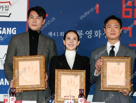 Jung Woo-sung, Cho Yeo-jeong and Cho Woo-jin pose for a photo during a handprint event before The 41th Blue Dragon (Cheongryong) Awards; at the CGV Yeouido theater in Seoul, South Korea, 12 November 2020. The Blue Dragon (Cheongryong) Awards are one of the country's two major film awards. The award ceremony will take place in Paradise City, Art Space Plaza in Incheon, South Korea on 11 December 2020.