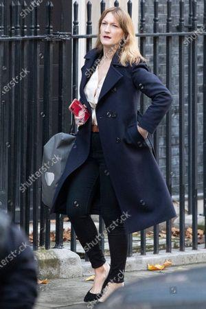 Government spokesperson Allegra Stratton departs 10 Downing Street.