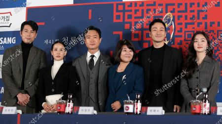 Stock Picture of From left, South Korean actors Jung Woo-sung, Cho Yeo-jeong, Jo Woo Jin, Lee Jung-eun, Park Hae Soo and Kim Hye Jun pose for the media during a hand printing ceremony for the 41st Blue Dragon Film Awards in Seoul, South Korea, . The Blue Dragon Film Awards will be held on Dec. 11