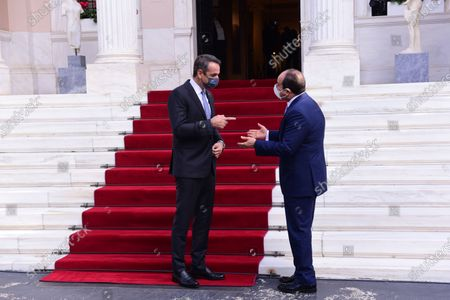 Stock Image of President of Egypt Abdel Fattah Al-Sisi (right) and Greek Prime Minister Kyriakos Mitsotakis (left), during their meeting.