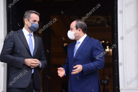President of Egypt Abdel Fattah Al-Sisi (right) and Greek Prime Minister Kyriakos Mitsotakis (left), during their meeting.
