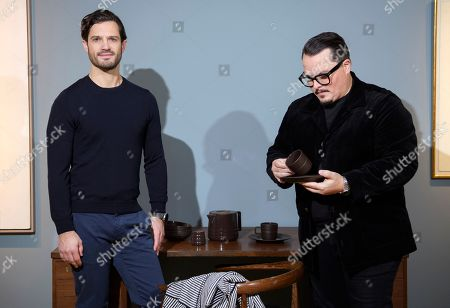 Prince Carl Philip and his design partner Oscar Kylberg presents a new line of cups, saucers, bowls and coffee or tea pots from Bernadotte & Kylberg