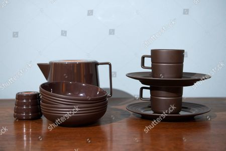 Stock Picture of Prince Carl Philip and his design partner Oscar Kylberg presents a new line of cups, saucers, bowls and coffee or tea pots from Bernadotte & Kylberg