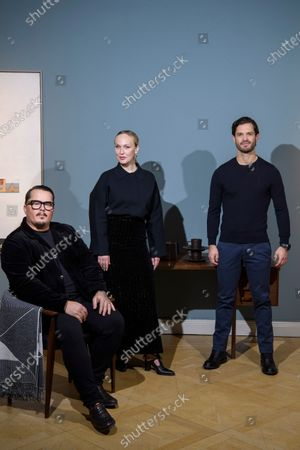 Stock Photo of Prince Carl Philip, singer Monica Mac and Oscar Kylberg of design duo Bernadotte & Kylberg and Nordic Nest present their new global design and lifestyle brand NJRD. The focus is on the Scandinavian design heritage of minimalism, functionality and graphic details. NJRD's first collection consists of tufted and woven rugs, a porcelain series in four colours and soft blankets made from recycled cotton.