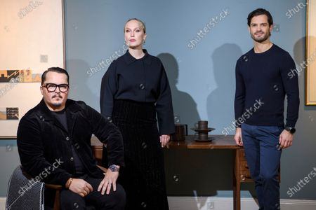 Stock Image of Prince Carl Philip, singer Monica Mac and Oscar Kylberg of design duo Bernadotte & Kylberg and Nordic Nest present their new global design and lifestyle brand NJRD. The focus is on the Scandinavian design heritage of minimalism, functionality and graphic details. NJRD's first collection consists of tufted and woven rugs, a porcelain series in four colours and soft blankets made from recycled cotton.