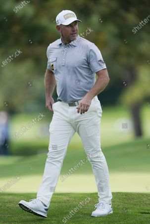 Lee Westwood of England walks towards the tee on the eighth hole during the first round of the 2020 Masters Tournament at the Augusta National Golf Club in Augusta, Georgia, USA, 12 November 2020. After being delayed seven months by the coronavirus pandemic, the 2020 Masters Tournament is being held without patrons 12 November through 15 November.
