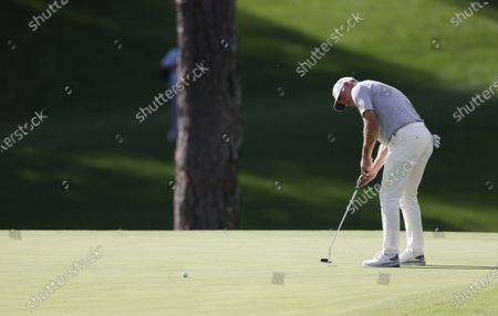 Lee Westwood of England putts on the fifteenth hole during the first round of the 2020 Masters Tournament at the Augusta National Golf Club in Augusta, Georgia, USA, 12 November 2020. After being delayed seven months by the coronavirus pandemic, the 2020 Masters Tournament is being held without patrons 12 November through 15 November.