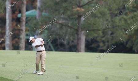 Jose Maria Olazabal of Spain hits from the fairway on the thirteenth hole during the first round of the 2020 Masters Tournament at the Augusta National Golf Club in Augusta, Georgia, USA, 12 November 2020. After being delayed seven months by the coronavirus pandemic, the 2020 Masters Tournament is being held without patrons 12 November through 15 November.