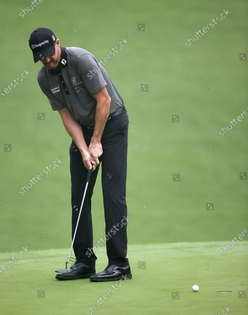 Jimmy Walker of the US putts  on the tenth hole during the first round of the 2020 Masters Tournament at the Augusta National Golf Club in Augusta, Georgia, USA, 12 November 2020. After being delayed seven months by the coronavirus pandemic, the 2020 Masters Tournament is being held without patrons 12 November through 15 November.