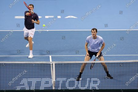 Great Britain's Jamie Murray (R) and Great Britain's Neal Skupski (L) in action during their semi-final doubles match during the Sofia Open ATP 250 tennis tournament.