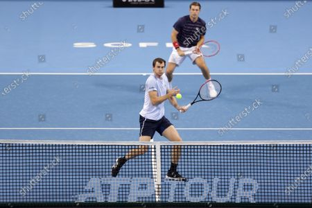 Great Britain's Jamie Murray (front) and Great Britain's Neal Skupski (back) in action during their semi-final doubles match during the Sofia Open ATP 250 tennis tournament.