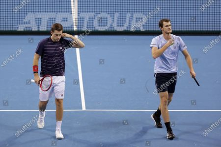 Stock Image of Great Britain's Jamie Murray (R) and Great Britain's Neal Skupski (L) in action during their semi-final doubles match during the Sofia Open ATP 250 tennis tournament.