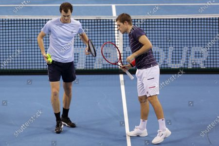 Great Britain's Jamie Murray (L) and Great Britain's Neal Skupski (R) in action during their semi-final doubles match during the Sofia Open ATP 250 tennis tournament.
