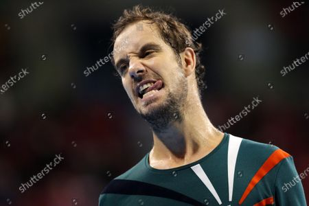 France's Richard Gasquet reacts during his quarter-final match against Italy's Salvatore Caruso during the Sofia Open ATP 250 tennis tournament.