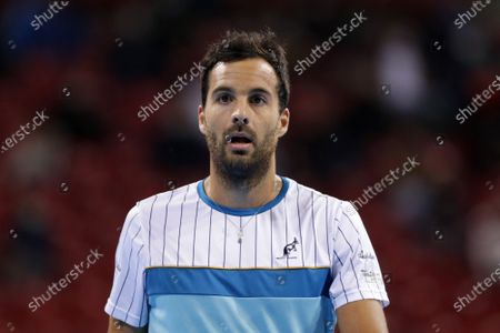 Italy's Salvatore Caruso reacts during his quarter-final match against France's Richard Gasquet during the Sofia Open ATP 250 tennis tournament.