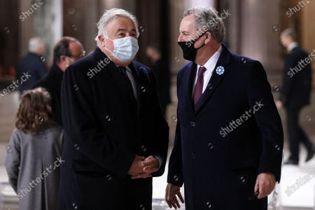 """Richard Ferrand, president of the National Assembly and Gerard Larcher, president of the Senate - The president of the Republic, Emmanuel Macron presides over the ceremony of pantheonization of Maurice Genevoix. Induction ceremony of Maurice Genevoix and """"Those of 14"""" in the Pantheon as part of the commemoration of the 102nd anniversary of the armistice of 1918 and the centenary of the burial of the Unknown Soldier under the Arc de Triomphe."""