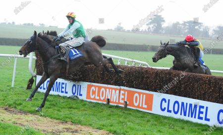 CLONMEL SPANCIL HILL and Barry Browne win the Prior Park Service Station Clonmel Handicap Steeplechase from Hoke Colburn (right). Healy Racing