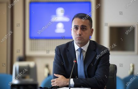 Italian Minister for Foreign Affairs Luigi Di Maio during a virtual conference with British Secretary of State for Foreign, Commonwealth and Development Affairs Dominic Raab (not seen), at Farnesina Palace in Rome, Italy, 12 November 2020.