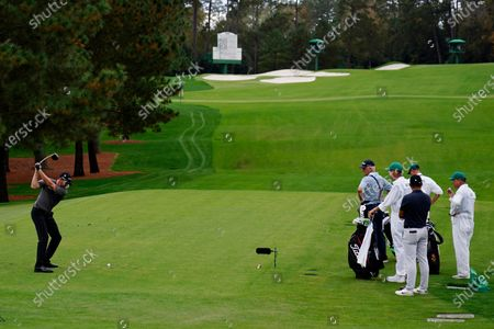 Jimmy Walker tees off on the third hole during the first round of the Masters golf tournament, in Augusta, Ga