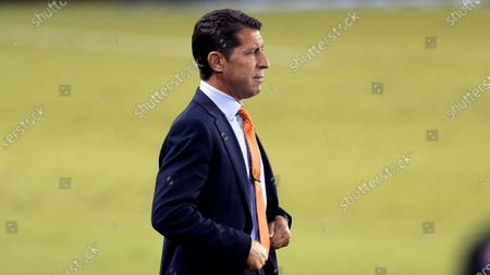 Stock Picture of Houston Dynamo head coach Tab Ramos during the first half of an MLS soccer match, in Houston