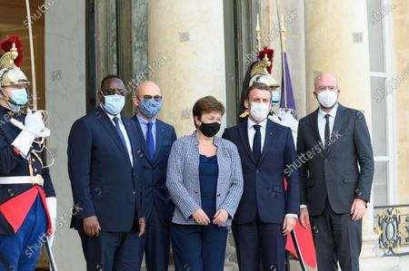 Macky Sall, Pascal Lamy, Kristalina Georgieva Emmanuel Macron and Charles Michel.