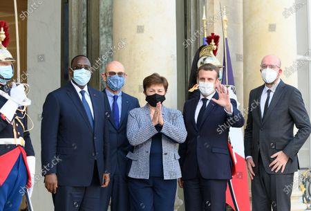 Editorial photo of Macron welcomes Kristalina Georgieva, Charles Michel and Macky Sall for the peace forum, Paris, France - 12 Nov 2020