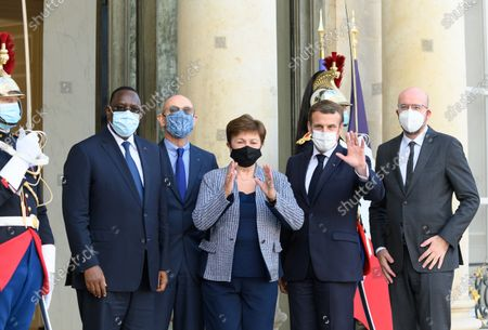Editorial picture of Macron welcomes Kristalina Georgieva, Charles Michel and Macky Sall for the peace forum, Paris, France - 12 Nov 2020
