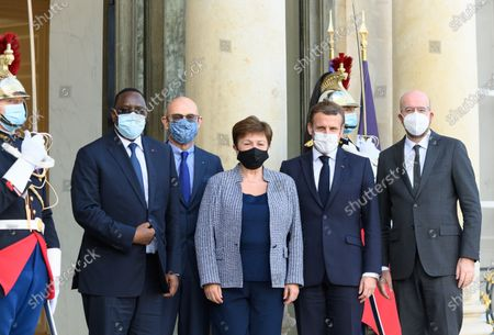 Stock Picture of Macky Sall, Pascal Lamy, Kristalina Georgieva Emmanuel Macron and Charles Michel.
