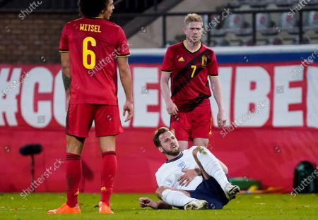 Stock Photo of Harry Kane of England with Axel Witsel and Kevin De Bruyne of Belgium