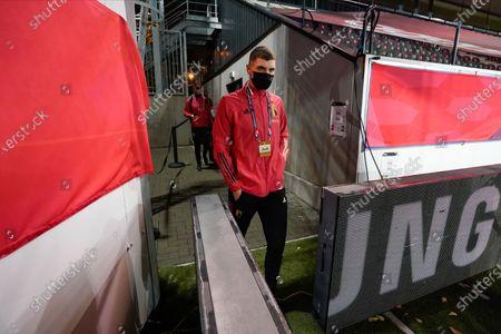 Thomas Meunier of Belgium arrives at the stadium