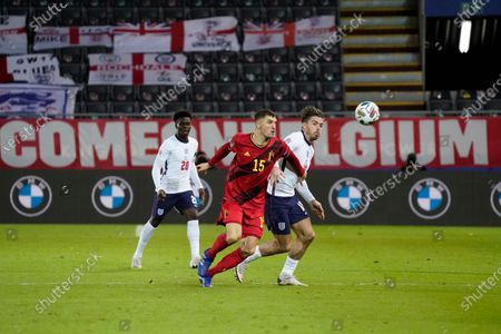 Thomas Meunier of Belgium and Jack Grealish of England battle for the ball
