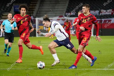 Jack Grealish of England is fouled by Thomas Meunier of Belgium