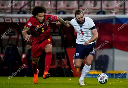 Axel Witsel of Belgium and Harry Kane of England