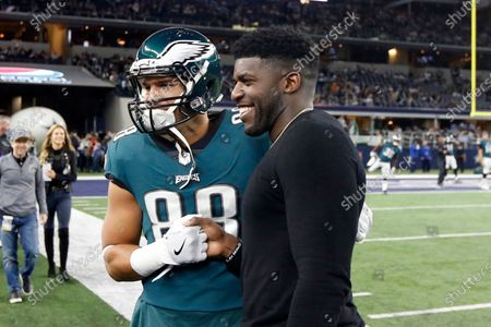 "Stock Image of Then-Philadelphia Eagles tight end Trey Burton (88) has a photo taken with former Eagles linebacker Emmanuel Acho prior to an NFL football game against the Dallas Cowboys in Arlington, Texas. Acho has enjoyed a spectacular rise off the field, beginning with his desire to take on racism. Acho celebrated his 30th birthday this week with the official release of his book: ""Uncomfortable Conversations with a Black Man."" His YouTube series with the same name has already amassed over 65 million views in five months"