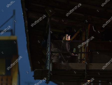 Stock Image of Radio Commentator Jacqui Oatley broadcasts from the gantry at The Abbey Stadium
