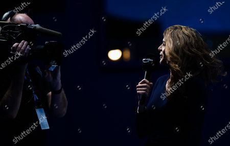 Stock Image of Annabel Croft presents courtside for Amazon Prime Video before the group stage match between Novak Djokovic of Serbia and Daniil Medvedev of Russia