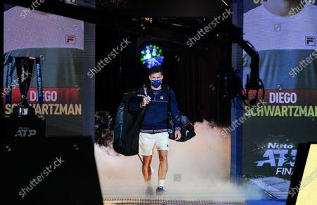 Diego Schwartzman of Argentina walks onto court