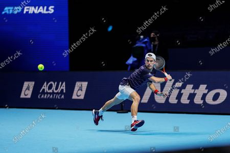 Diego Schwartzman of Argentina stretches for the ball