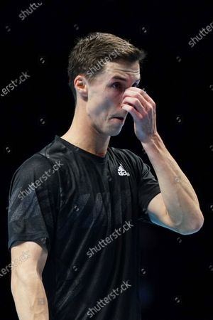 Stock Image of Joe Salisbury of Great Britain reacts during play in the Men's Doubles