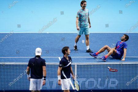 Stock Image of Nikola Mektic of Croatia and Wesley Koolhof of The Netherlands celebrate winning the Men's Doubles final against Jurgen Melzer of Austria and Edouard Roger-Vasselin of France