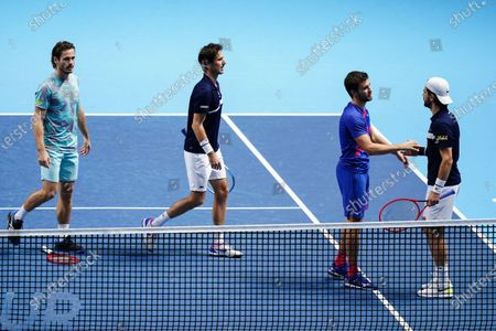 Nikola Mektic of Croatia and Wesley Koolhof of The Netherlands celebrate winning the Men's Doubles final against Jurgen Melzer of Austria and Edouard Roger-Vasselin of France